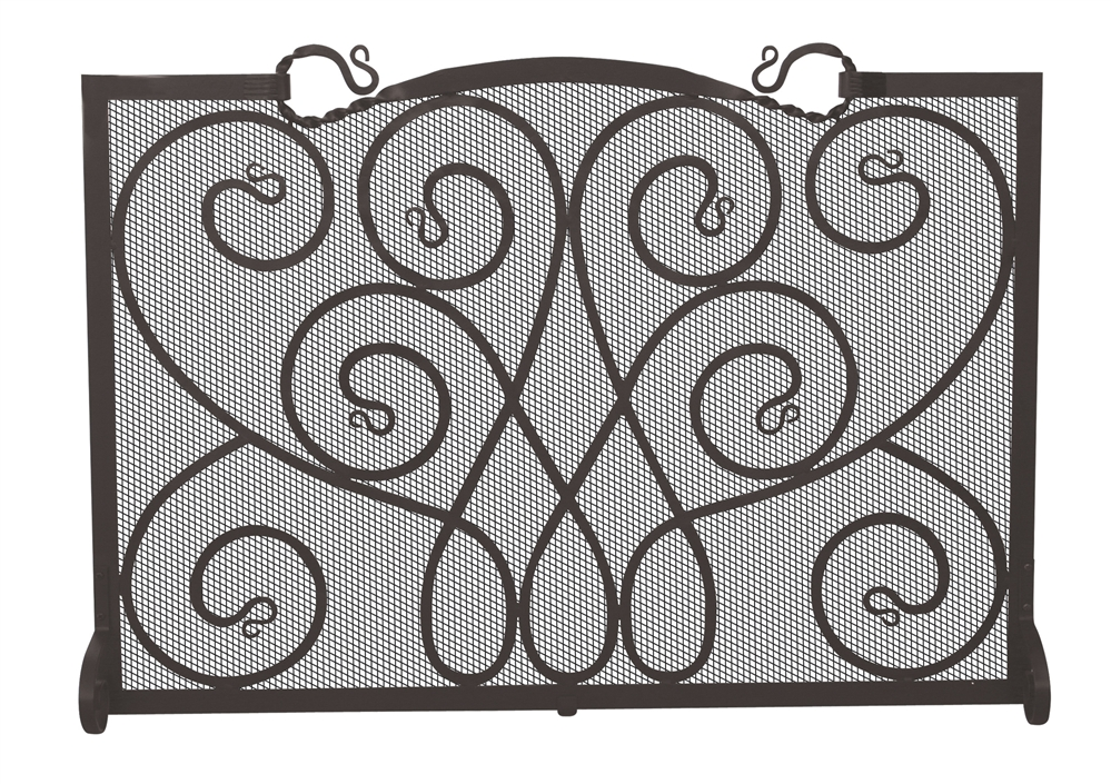 Uniflame Single Panel Black Ornate Fireplace Screen