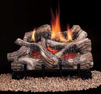 comfort flame vent free gas log set white mountain oak