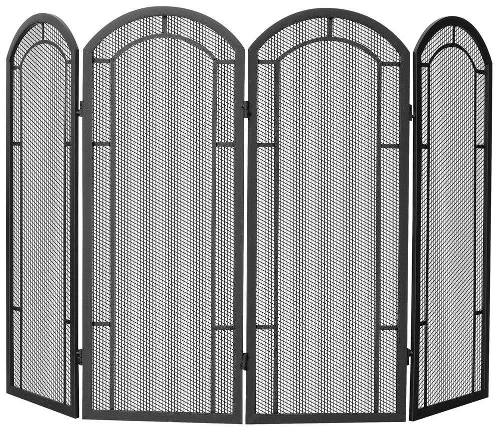 black iron fireplace screen.  Uniflame 4 Fold Black Wrought Iron Fireplace Screen