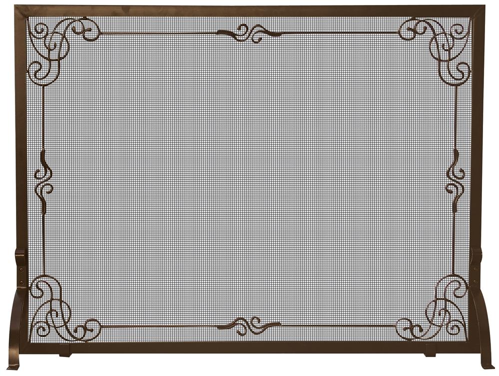 - Uniflame Bronze Single Panel Fireplace Screen With Decorative Scrolls