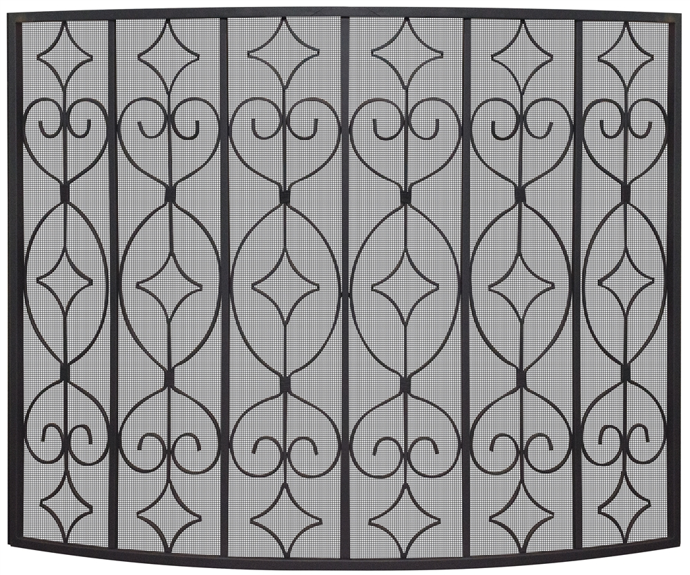 Uniflame Black Curved Ornate Fireplace Screen
