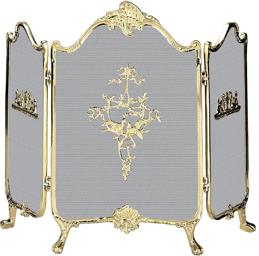 Uniflame 3 Panel Ornate Fully Cast Solid Brass Fireplace Screen