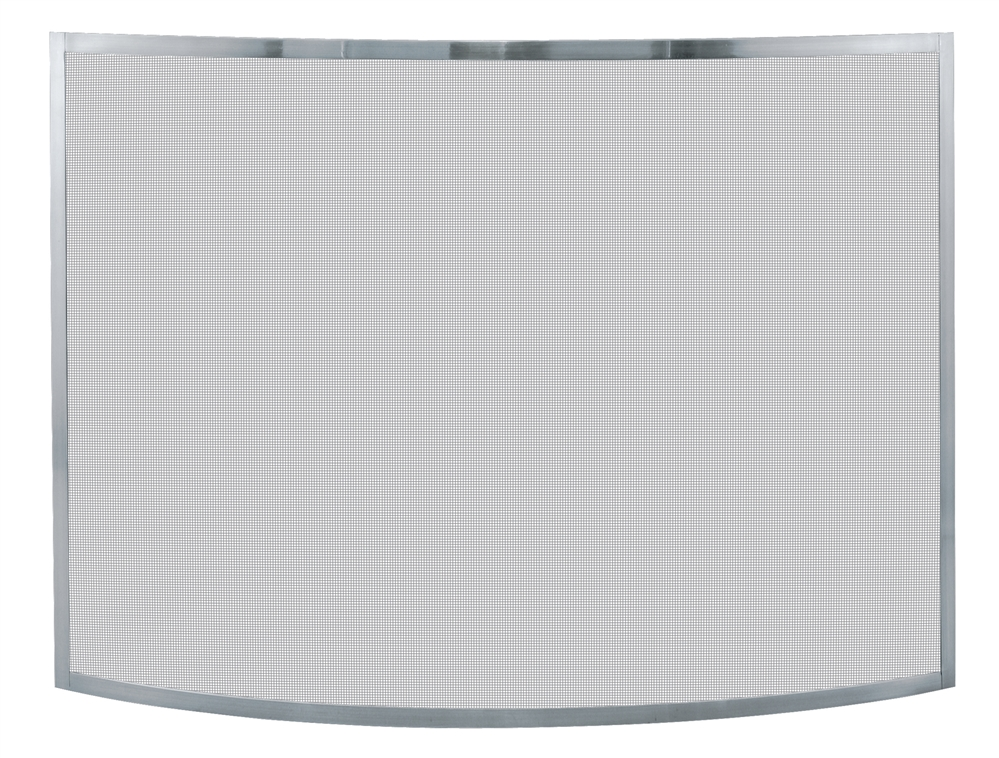 Uniflame Single Panel Pewter Curved Fireplace Screen - Single Panel Pewter Curved Fireplace Screen