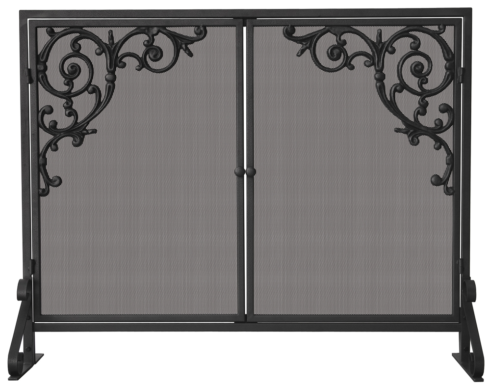 uniflame single panel fireplace screen with doors u0026 cast scrolls