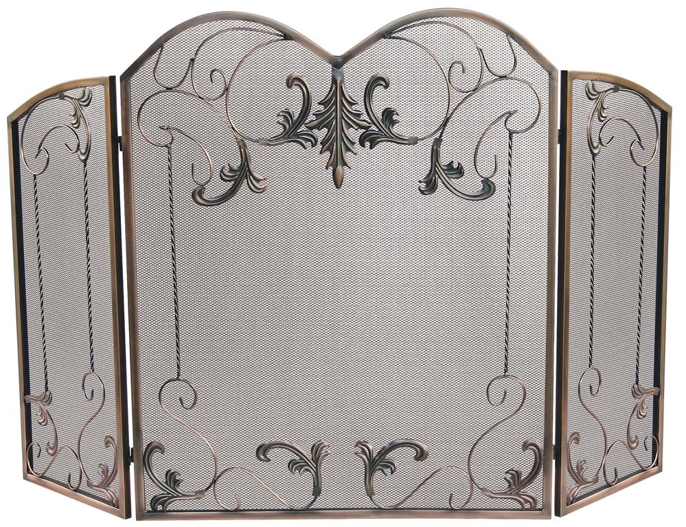 Astonishing Uniflame Venetian Bronze 3 Fold Fireplace Screen With Leaf Scrolls Download Free Architecture Designs Photstoregrimeyleaguecom