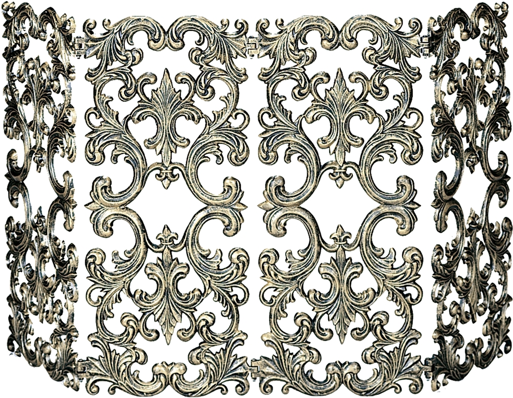 Uniflame 4 Panel Antique Gold Cast Aluminum Fireplace Screen