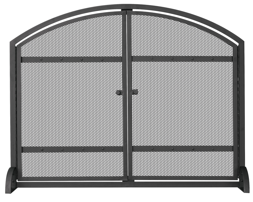 Black Iron Fireplace Screen.  Uniflame Black Single Panel Fireplace Screen with Doors and Rivets