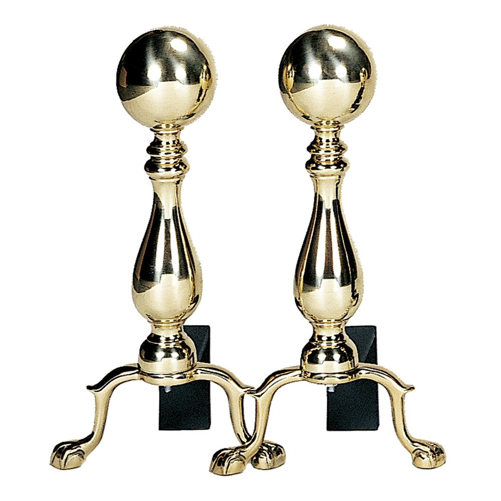 Uniflame Solid Brass Medium Andirons With Ball Handle