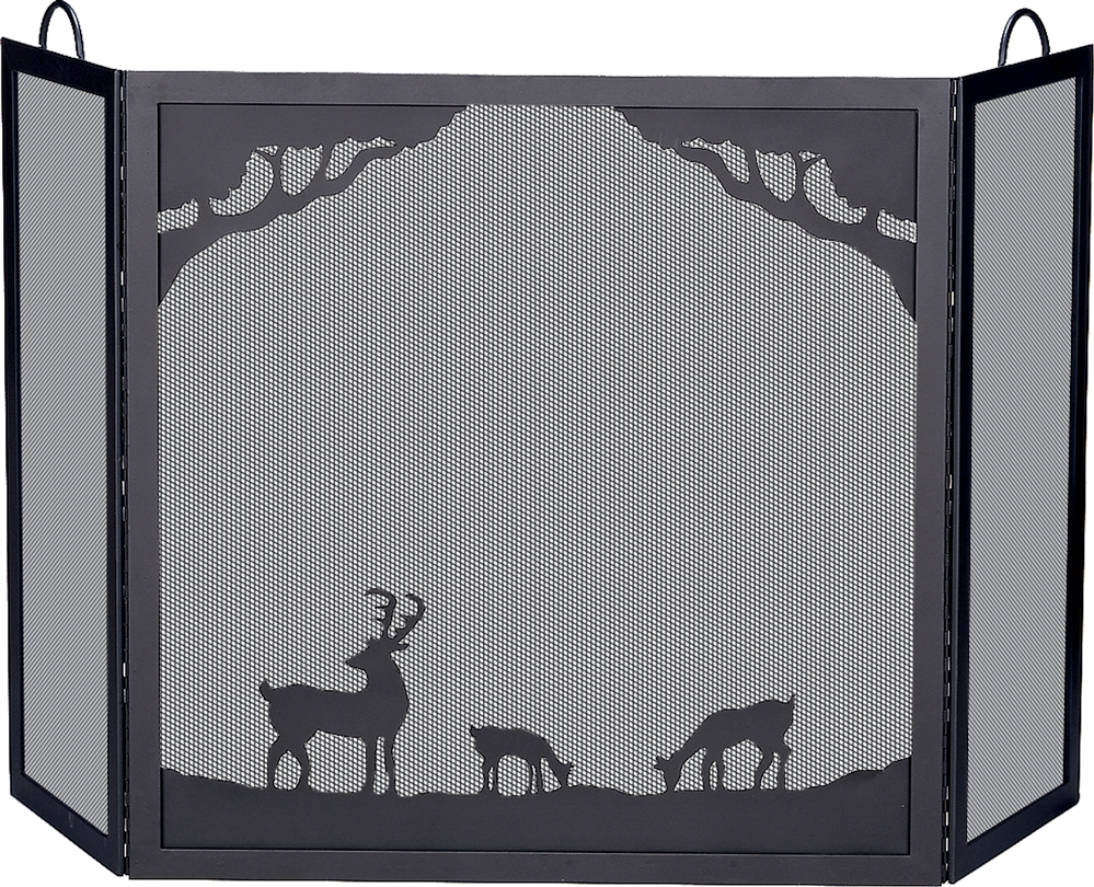 Uniflame Deluxe 3 Fold Black Wrought Iron Fireplace Screen