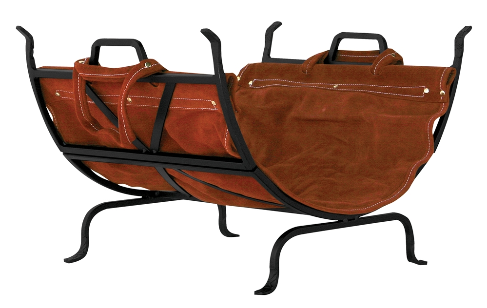 Uniflame Black Wrought Iron Log Rack with Leather Carrier