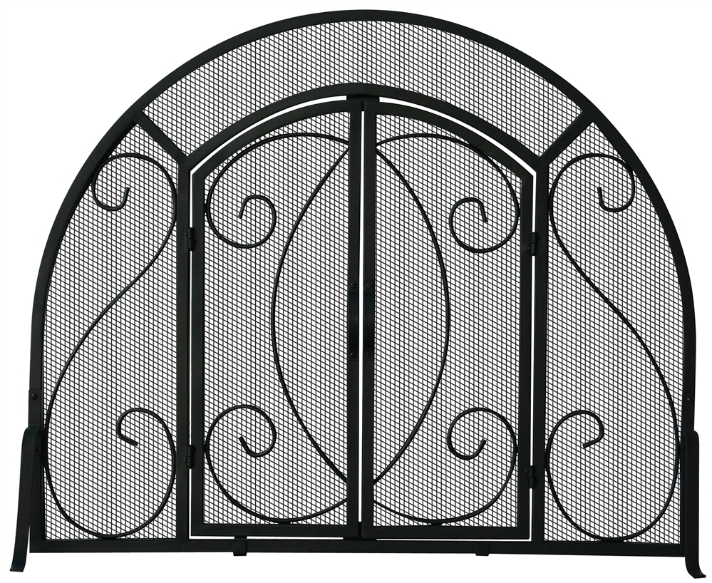 Admirable Uniflame Single Panel Black Ornate Fireplace Screen With Doors Download Free Architecture Designs Photstoregrimeyleaguecom