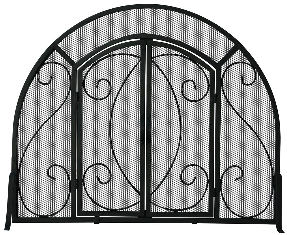 Uniflame Single Panel Black Ornate Fireplace Screen With Doors