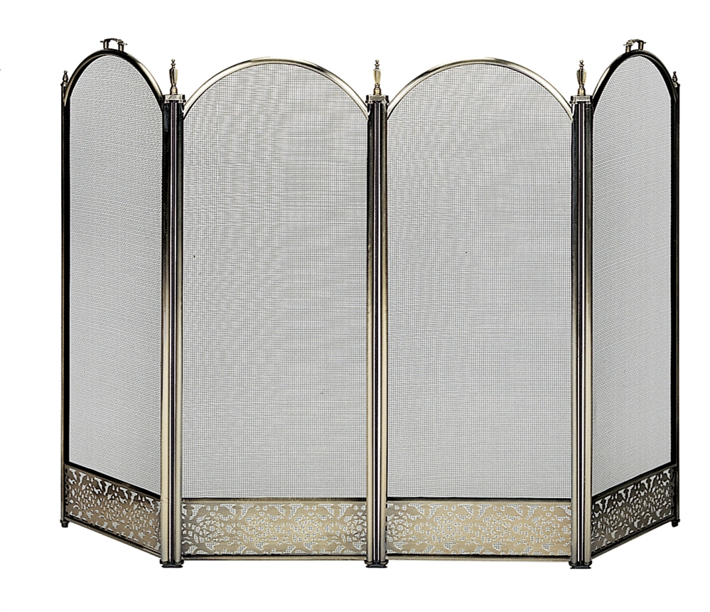 Uniflame Specialty Line 4 Fold Antique Br Fireplace Screen With