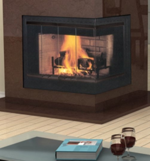 Hearth corner wood fireplace for Vantage hearth